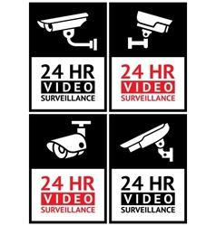 Stickers camera surveillance set vector image