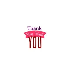 Thank you typography with ribbon vector image vector image