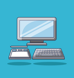 computer with tablet pencil digital technology vector image