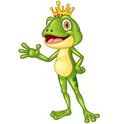 Cute frog presenting vector image