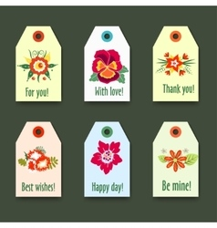 Flower tags with logo set - isolated on green vector
