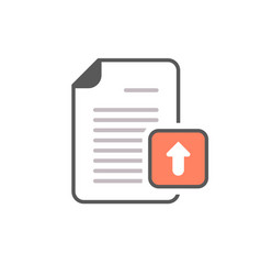 arrow document file page upload icon vector image vector image
