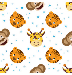 cute cartoon seamless childish pattern vector image vector image