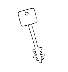 Doodle old key isolated object vector