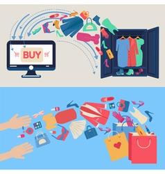 Online Shopping Concept Mobile marketing vector image