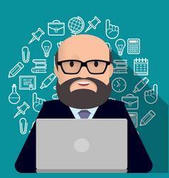 professor teacher man with a beard working on vector image