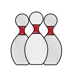 scribble bowling pins cartoon vector image