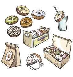 selection of donuts vector image vector image