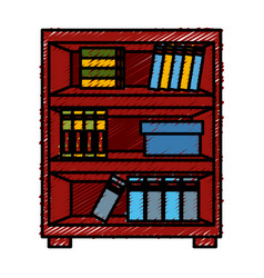 wooden bookcase cabinet vector image