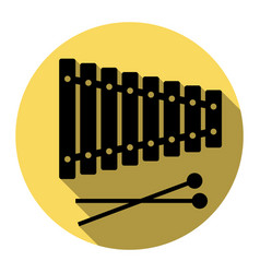 xylophone sign flat black icon with flat vector image
