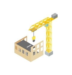 Construction of house with tower crane icon vector image