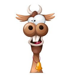 funny cute crazy cartoon characters cow vector image