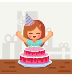 Happy sweet cute cartoon girl with birthday cake vector image