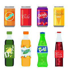 set of soft drinks in plastic and aluminum vector image