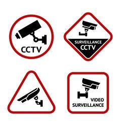 Video surveillance set white labels vector image vector image