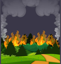 a wildfire forest scene at night vector image