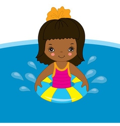 African American Little Girl in Pool vector