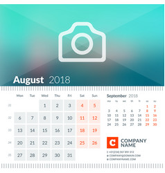 august 2018 calendar for 2018 year week starts vector image