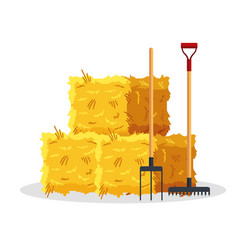 Bale of hay isolated on white background flat vector