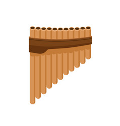 Bamboo pan flute from bound cylindrical pipes vector