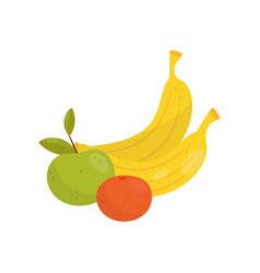 Banana green apple and orange organic healthy vector