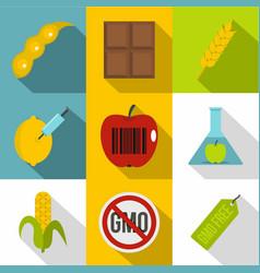 biotechnology icon set flat style vector image