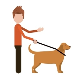 blind person with a guide dog isolated icon vector image
