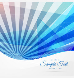 Blue abstract background with stripe rays vector