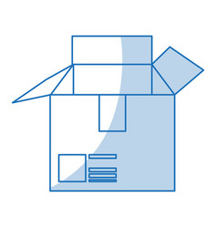 Blue shading silhouette cartoon box of cardboard vector