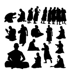 Buddhist monk gesture silhouettes vector