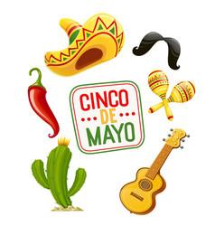 cactus sombrero guitar vector image