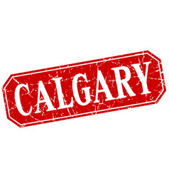 Calgary red square grunge retro style sign vector