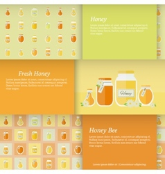 Cards with jars of honey set vector image