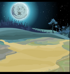 cartoon background of a fairy forest moonlit night vector image