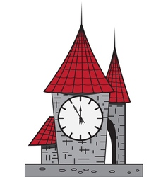Cartoon castle with a clock vector