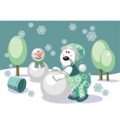 Christmas snowman and bear vector image