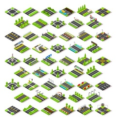 City Map Set 02 Tiles Isometric vector image