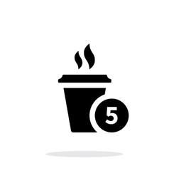 Coffe cup with number simple icon on white vector image