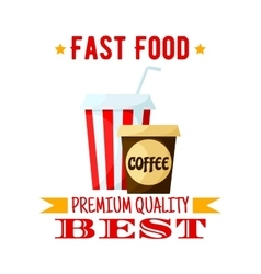 Coffe soda drink fast food isolated icon vector