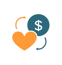 Coin and heart colored icon exchange happiness vector