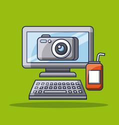 Computer photo camera app gadget soda can vector