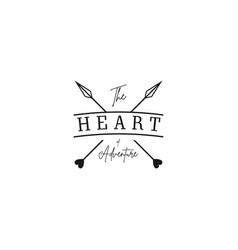 crossed arrows with heart minimalist rustic vector image