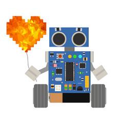 Cute little cartoon robot holding a balloon in the vector