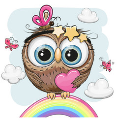 Cute owl with heart is sitting on a rainbow vector
