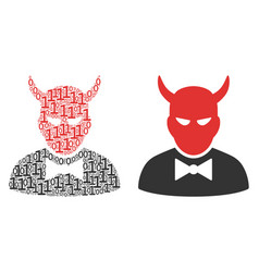 Devil collage of binary digits vector