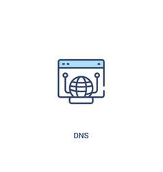 Dns concept 2 colored icon simple line element vector