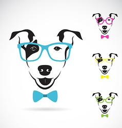 Dog bull terrier glasses vector image