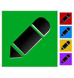 flat square icon with pencil in 5 colors vector image