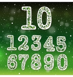 Floral numbers collection vector