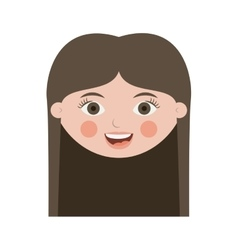 Front face teen smiling with long hair vector
